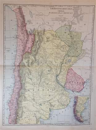 Map of Argentine Republic Chile Paraguay Uruguay, 1898