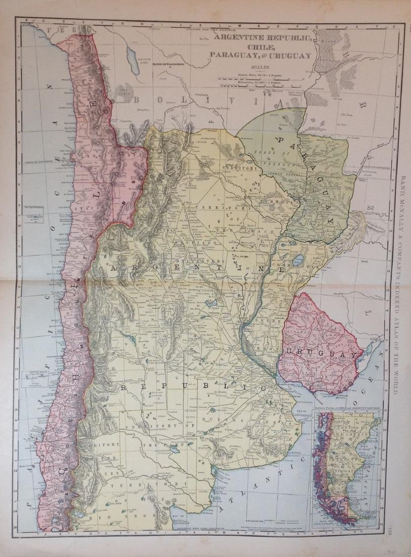 Map of Argentine Republic Chile Paraguay Uruguay, 1898