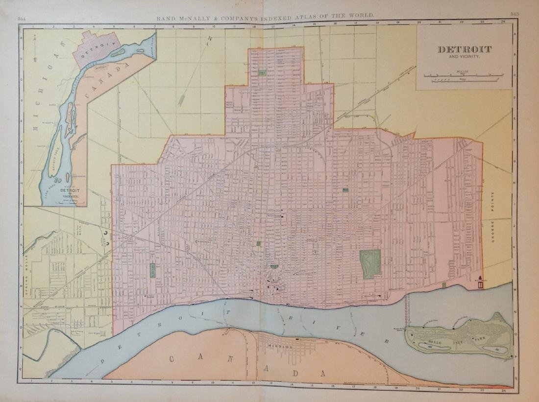 Map of Detroit and Vicinity, 1898