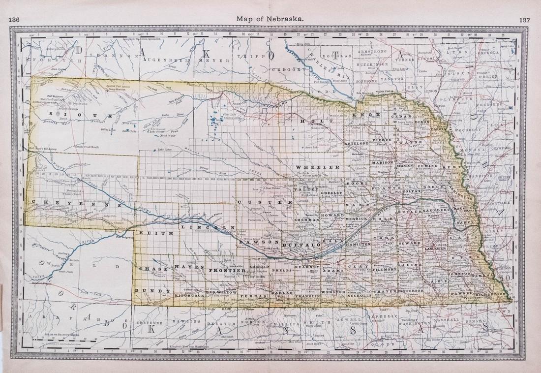 Hardesty Map of Nebraska, 1883