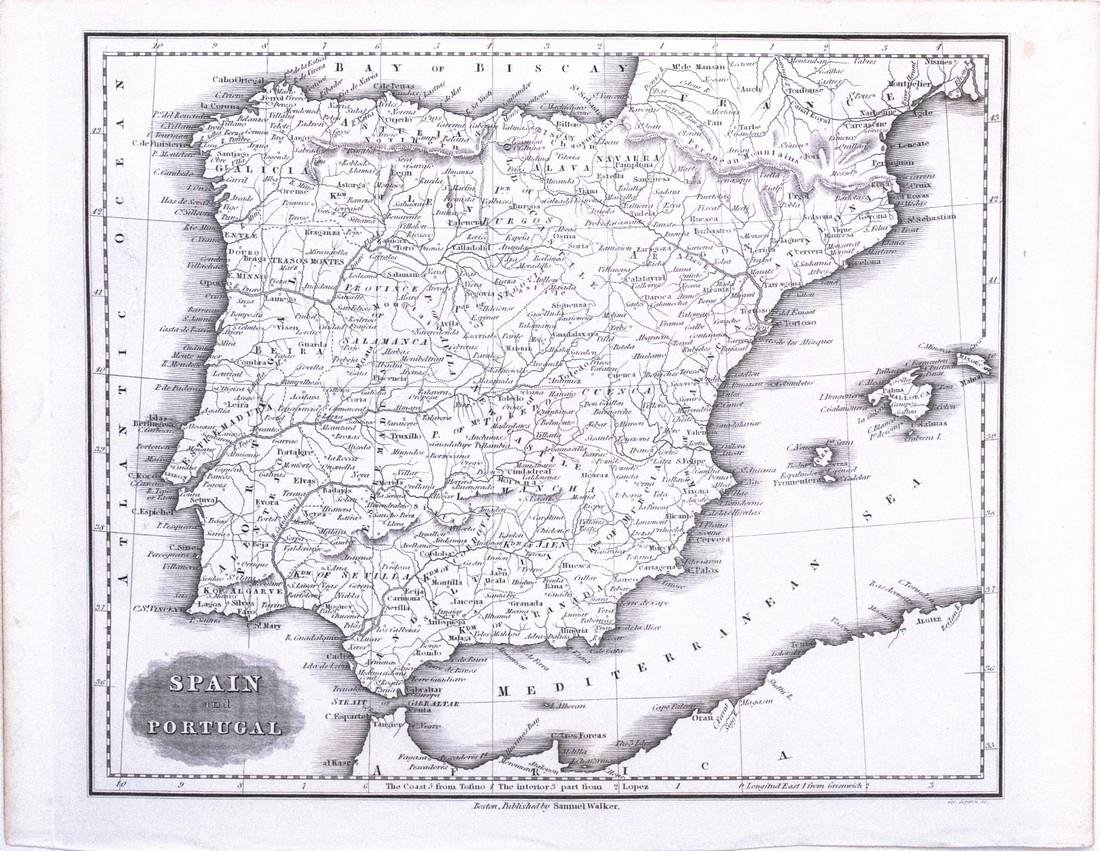 Malte-Bur Map of Spain and Portugal, 1834