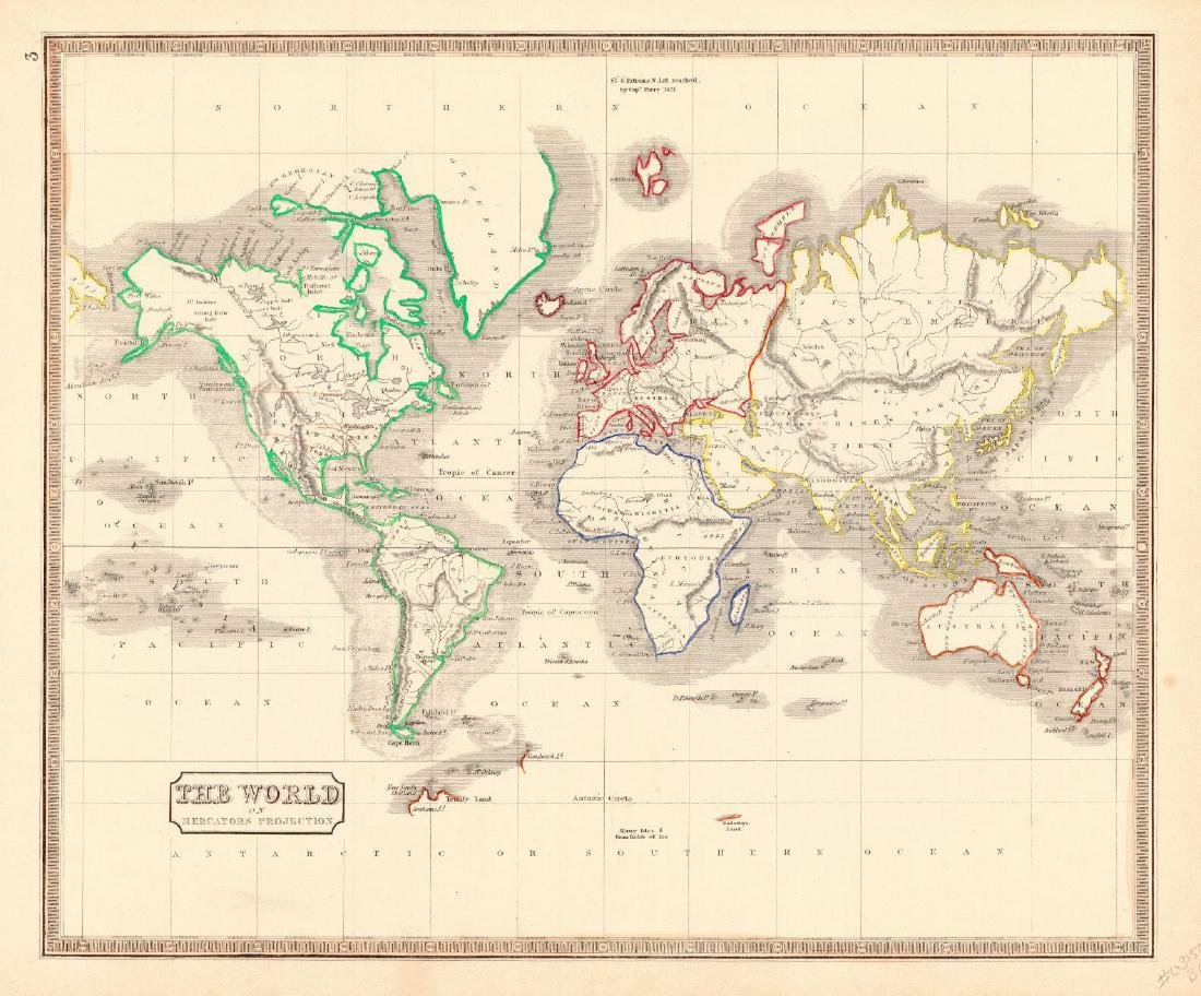 Map of The World On Mercators Projection, 1848