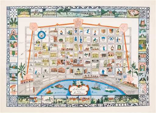 Myra Z Barnes Map Of French Quarter New Orleans 1942