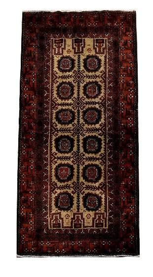 Hand Knotted Persian Hamadan Wool Rug 3x6