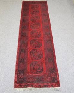 Semi Antique Handmade Wool Afghan Runner