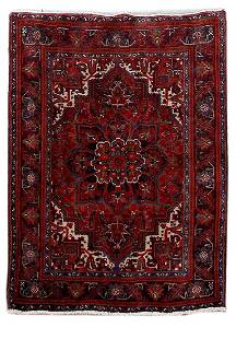 Hand Knotted Persian Heriz Rug 4x5