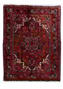 Handmade Persian Heriz Wool Rug 4x5