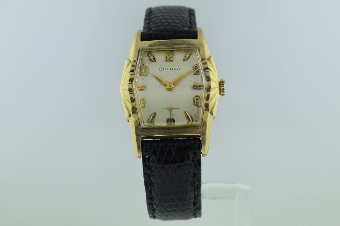 Bulova Deco 10K Gold Scallop Design Watch, 1950