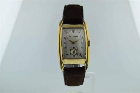 Bulova Deco 10K Gold Suede Strap Watch, 1930's