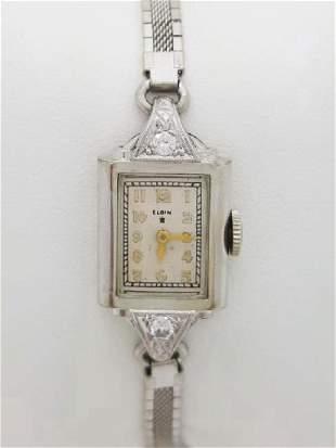 Vintage Lady Elgin 10K White Gold Diamond Watch, 1935