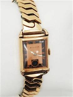 Vintage Bulova 10K Gold Filled Art Deco Men's Watch