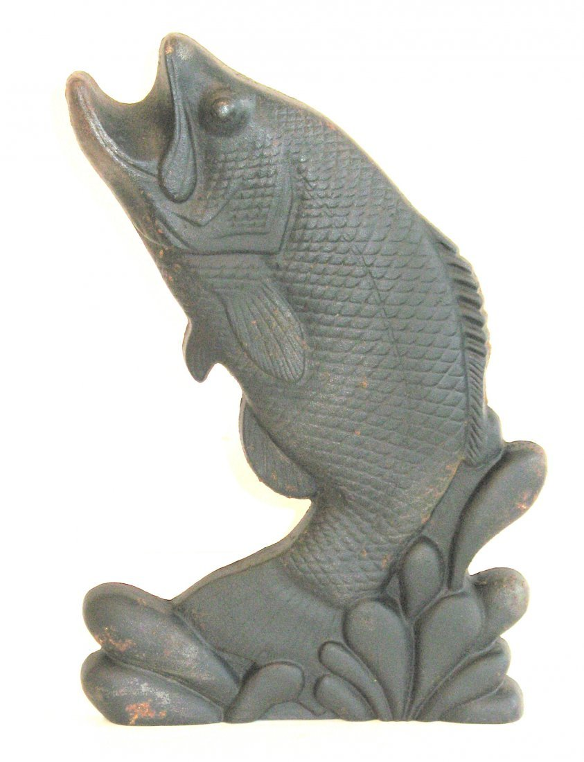 Pair of Cast Iron Fish Andirons - 2