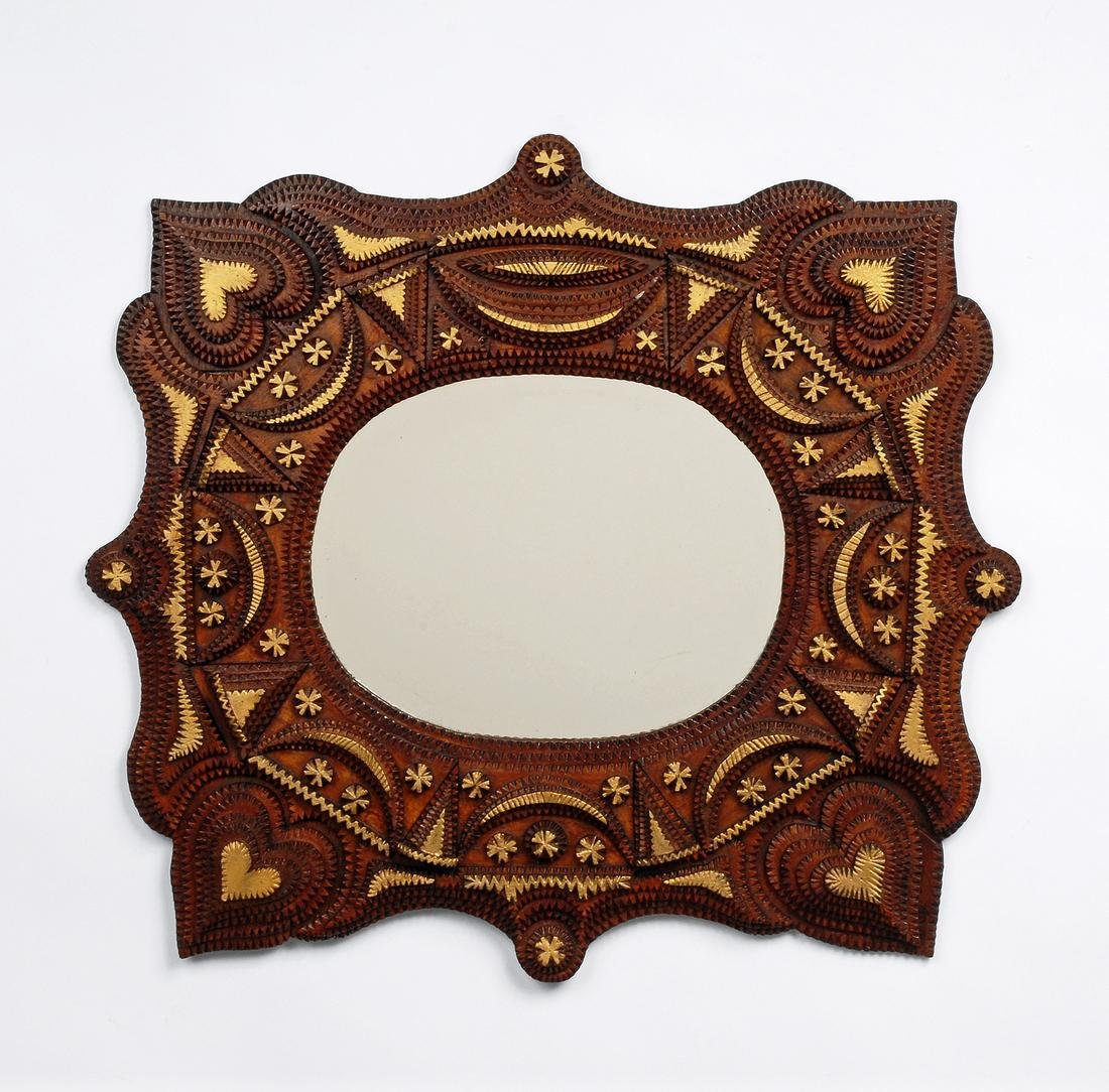 Tramp Art Mirror with Hearts
