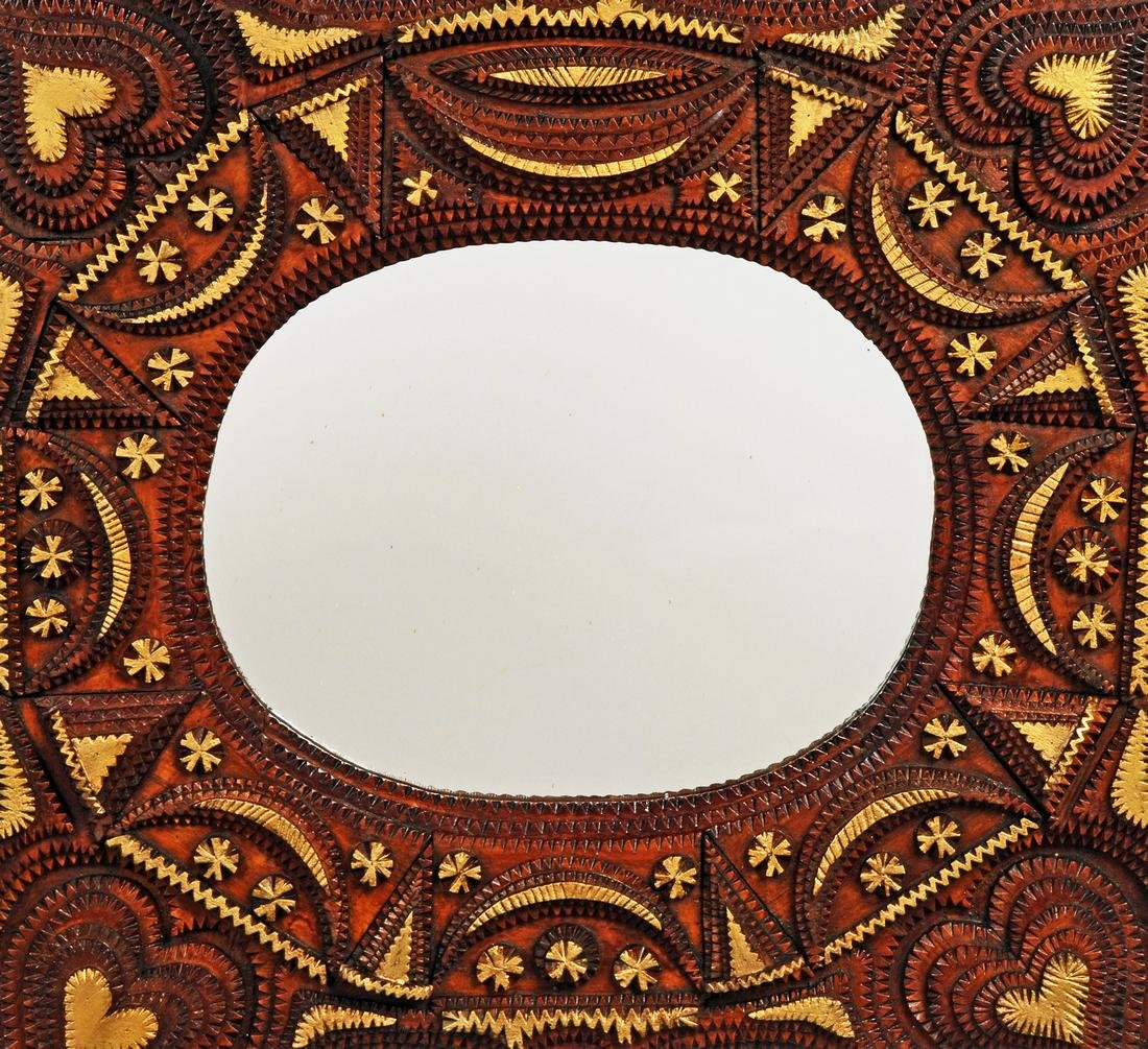 Tramp Art Mirror with Hearts - 2
