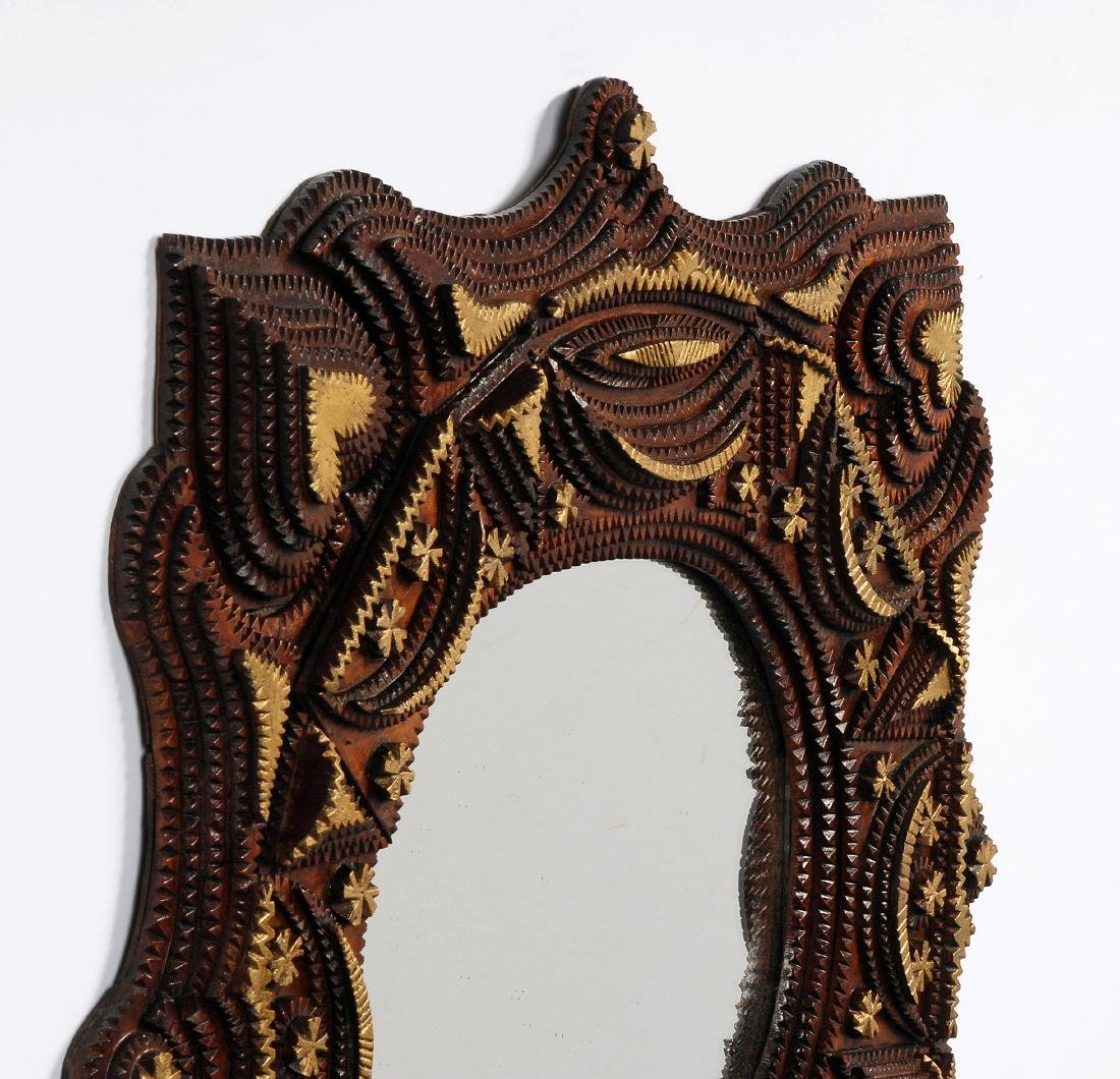 Tramp Art Mirror with Hearts - 6