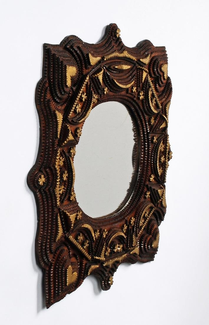 Tramp Art Mirror with Hearts - 7