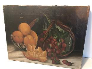 Still Life with Oranges & Strawberries, 19th C