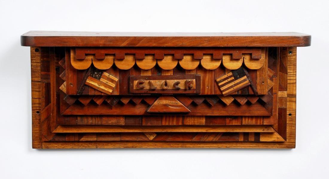 Patriotic Marquetry 'Clock' Shelf