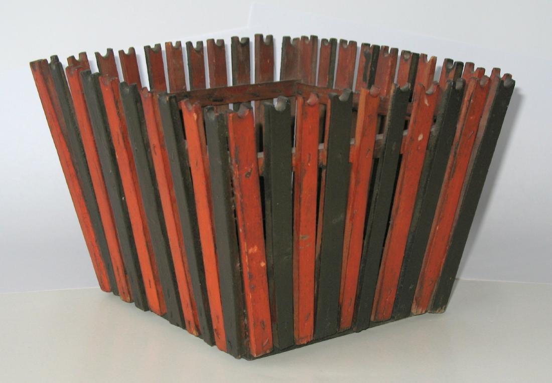 Folk Art Wooden Slatted Basket