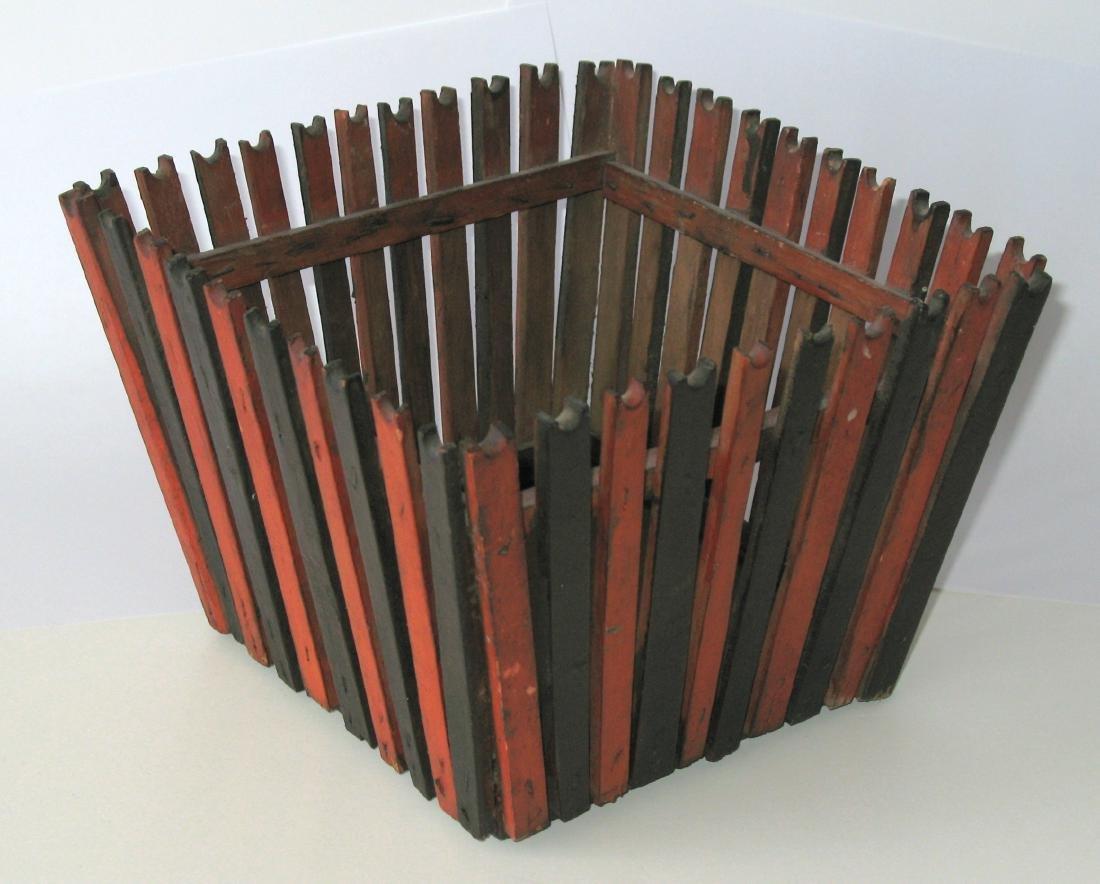 Folk Art Wooden Slatted Basket - 2