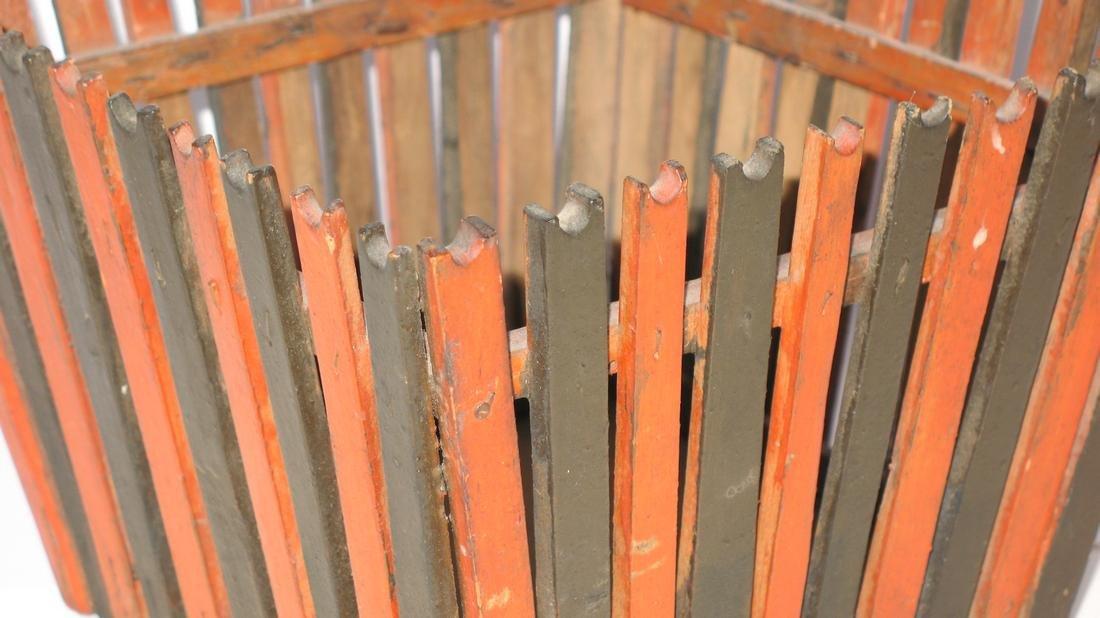Folk Art Wooden Slatted Basket - 3