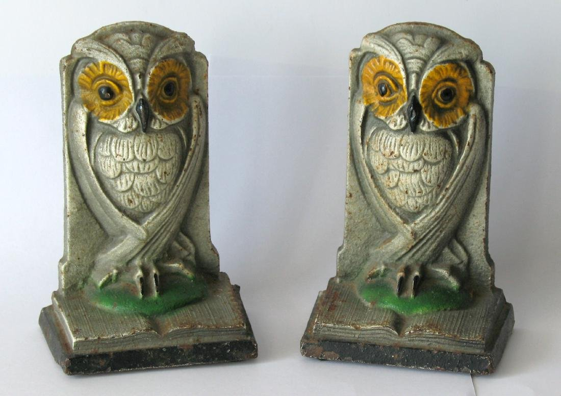 Bradley & Hubbard Painted Cast Iron Owl Bookends, Pair