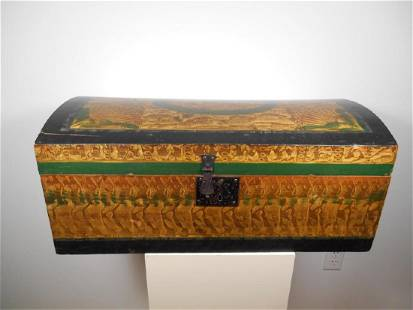 Polychrome Painted Dome Top Chest