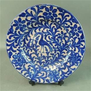 Salt Glaze Blue Ware Stork & Floral Pottery Plate