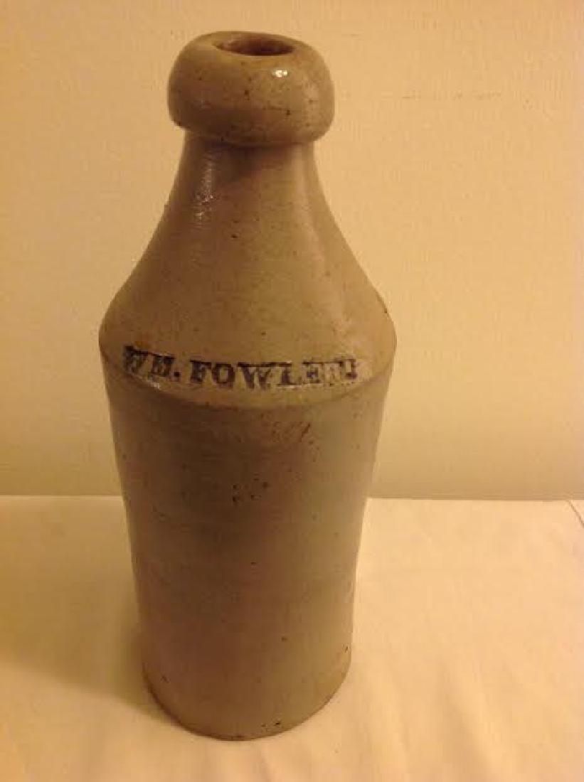 Antique WM Fowler Stoneware Beer Bottle