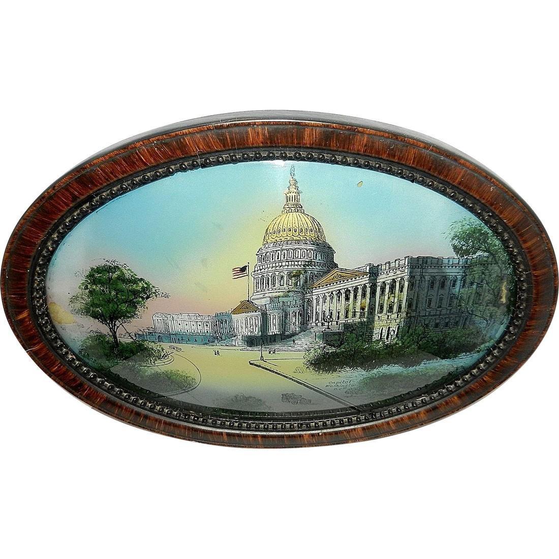 Antique Reverse Painted Capitol Building