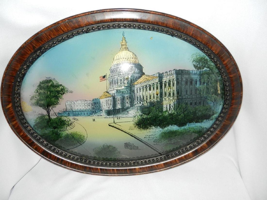 Antique Reverse Painted Capitol Building - 5
