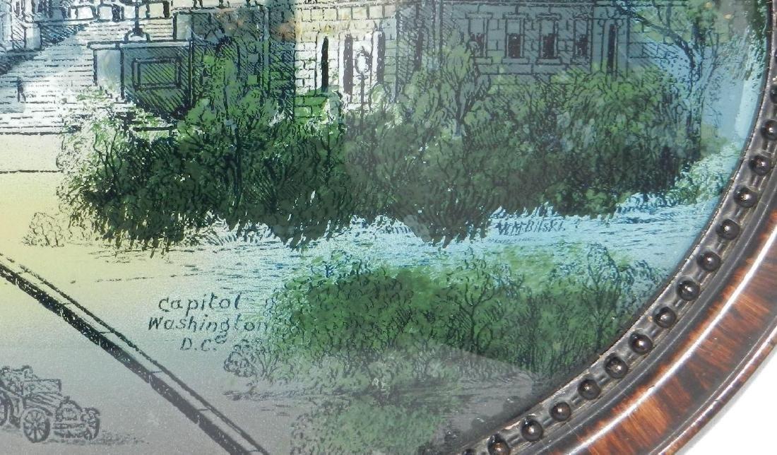 Antique Reverse Painted Capitol Building - 6