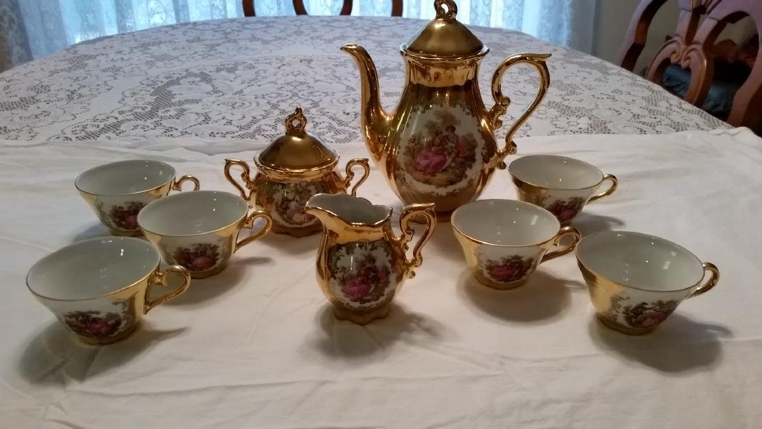 Kunst Palette Regnitzlosau 22k Gold Handpainted Tea Set