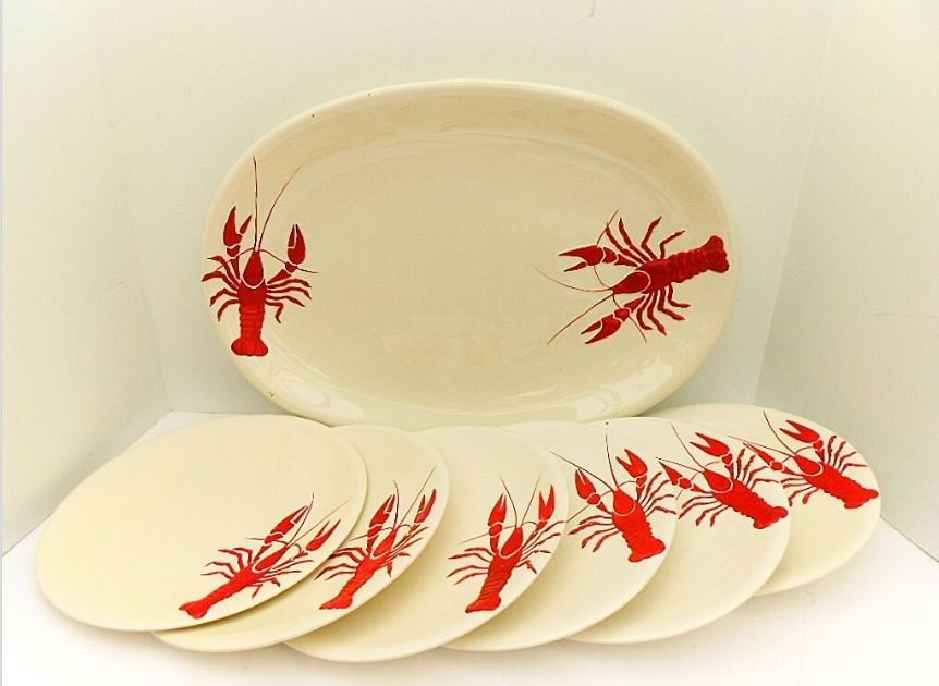 HBCN French Faience Lobster Service for 6