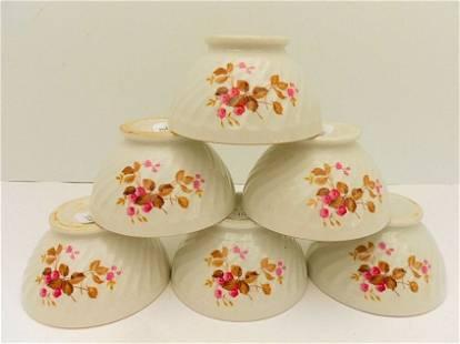 Six Sarreguemines French Porcelain Cafe au Lait Bowls