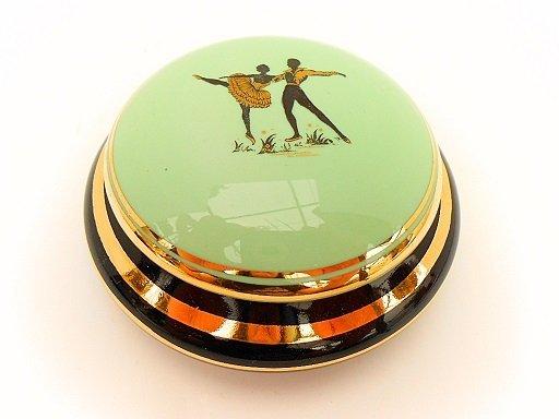 French Mid Century Porcelain Ballet Theme Trinket Box