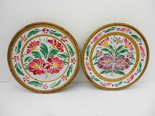 Pair Keraluc Quimper Hand Painted Sandstone Plates