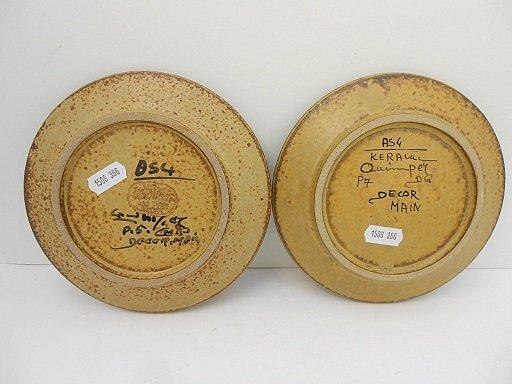 Pair Keraluc Quimper Hand Painted Sandstone Plates - 4
