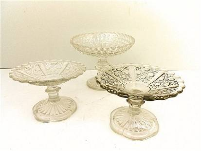 3 French Pressed Glass Mini Footed Compote Bowls