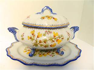 Henriot Quimper Soup Tureen with Underplate
