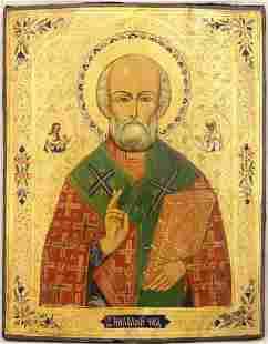 Saint Nicholas Large Russian Icon, 19th C