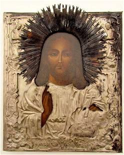 Antique Jesus Silver Oklad Enamel Russian Icon, 19th C