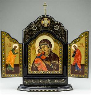 Vladimirskaya Mother of God Russian Lacquer Triptych