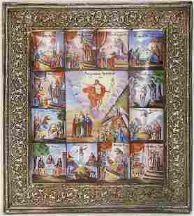 Resurrection Enamel Silver Russian Icon, 20th C