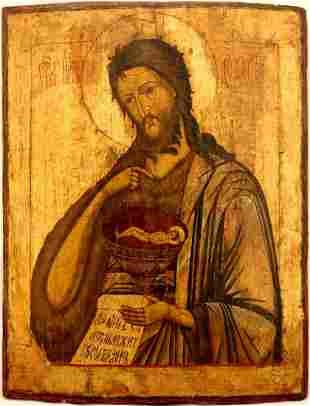 Saint John Baptist Large Russian Icon, 19th C
