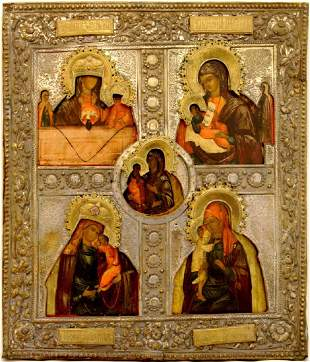 Our Lady Large Multi-Panel Oklad Russian Icon, 19th C