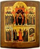Intercession of the Theotokos Large Russian Icon 19th C