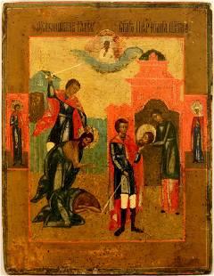 Beheading of Saint John Large Russian Icon, 1800