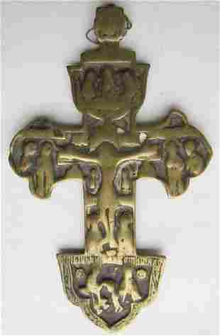 Antique Rare Bronze Russian Hanging Icon Cross, 1700s