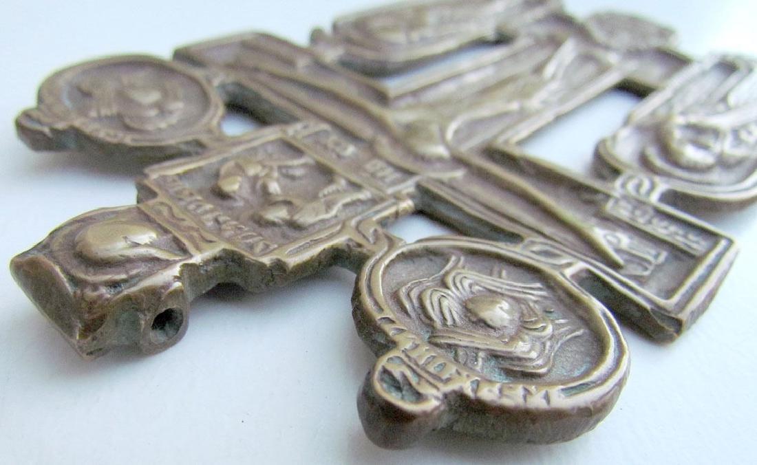 Rare Antique Russian Bronze Crucifix Icon Cross, 18th C - 4